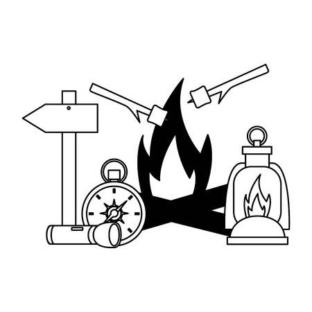 bonfire lantern compass flashlight camping summer vector illustration