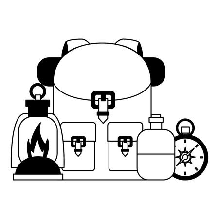 backpack lantern compass water camping summer vector illustration Illustration