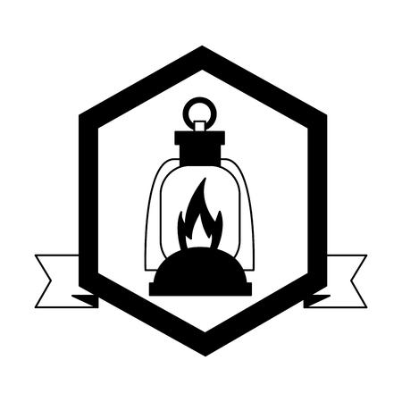 light lantern camping label ribbon vector illustration