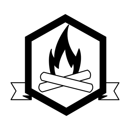 bonfire flame camping label ribbon vector illustration