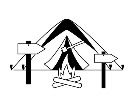 tent bonfire guide signal camping summer vector illustration Banque d'images - 127349794