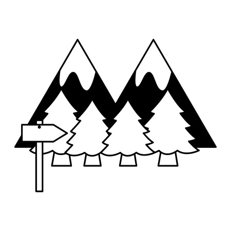 mountains forest signal camping summer vector illustration Çizim