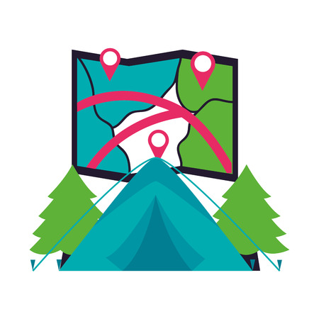 tent map and forest camping summer vector illustration