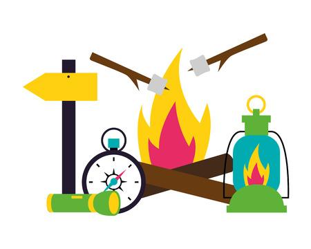 bonfire lantern compass flashlight camping summer vector illustration