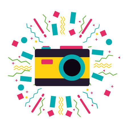 photography camera equipment camping summer vector illustration