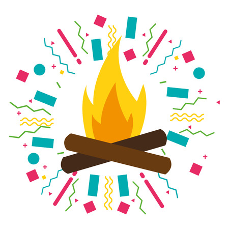 bonfire flame equipment camping summer vector illustration