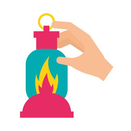 hand met lantaarn camping zomer vectorillustratie Vector Illustratie