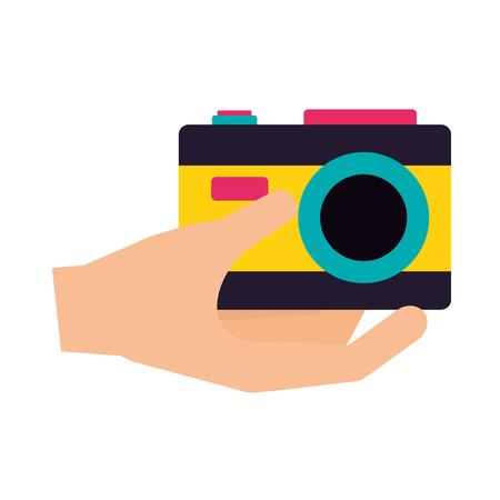 hand holding camera camping summer vector illustration