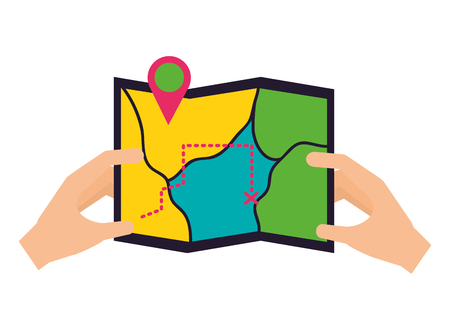 hands holding map location camping summer vector illustration