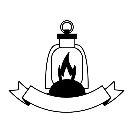 lantern flame equipment ribbon camping vector illustration