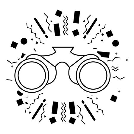 binoculars tool equipment camping summer vector illustration