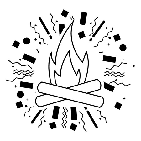 bonfire flame burn camping summer vector illustration