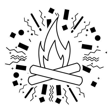 bonfire flame burn camping summer vector illustration