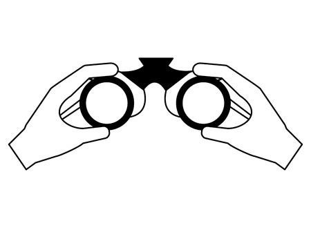 hands with binoculars camping summer vector illustration Illustration