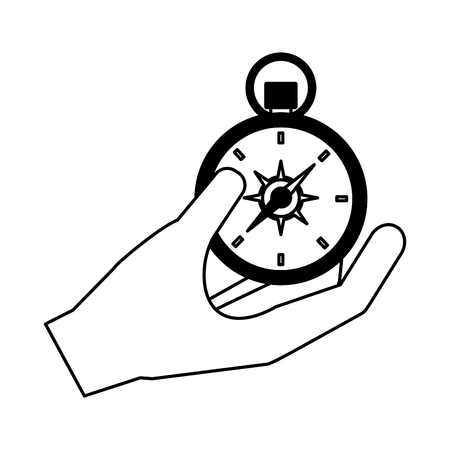 hand holding compass camping summer vector illustration Standard-Bild - 127349828
