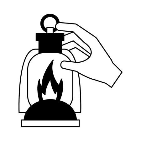 hand holding lantern camping summer vector illustration Ilustração