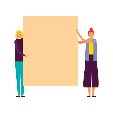 two women holding empty banner vector illustration