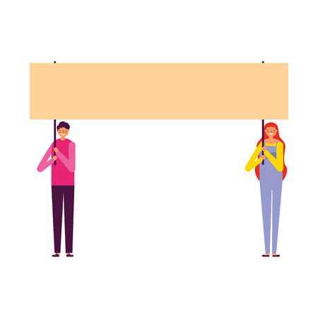 man and woman holding banner vector illustration Stock Vector - 127349846