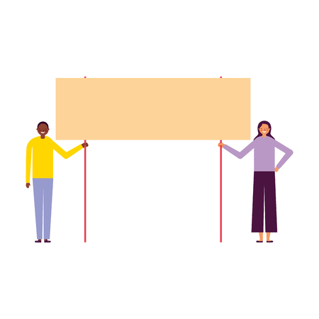 man and woman holding banner vector illustration