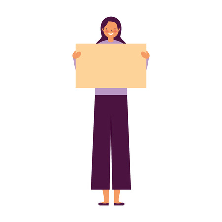 woman holding empty banner white background vector illustration Illustration