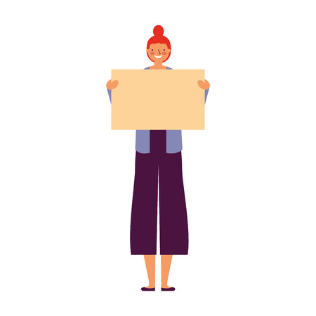 woman holding empty banner white background vector illustration Illustration