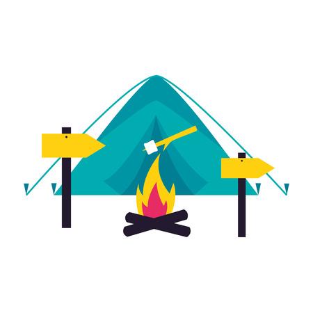 tent bonfire guide signal camping summer vector illustration  イラスト・ベクター素材