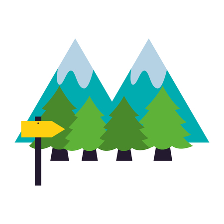 mountains forest signal camping summer vector illustration Illusztráció
