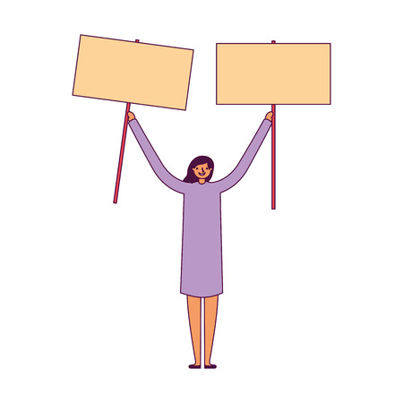 woman holding two empty banner vector illustration