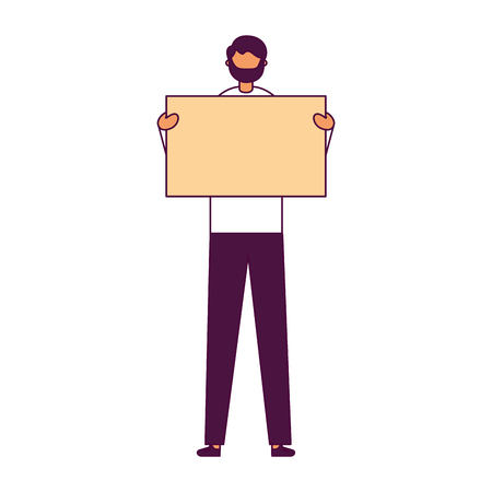 man with empty banner white background vector illustration