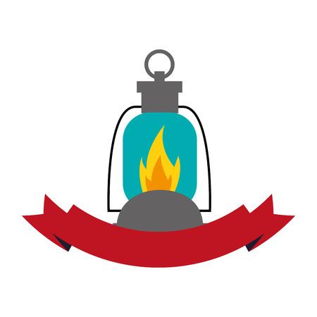 lantern flame equipment ribbon camping vector illustration