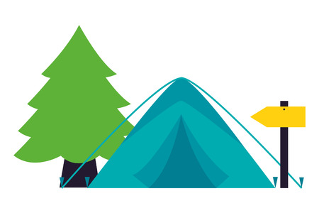 tent pine tree guide signal camping summer vector illustration Stock Illustratie