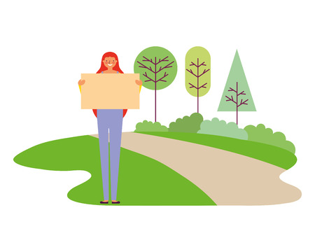 woman holding empty banner park vector illustration