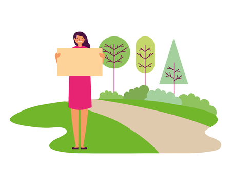 woman holding empty banner park vector illustration
