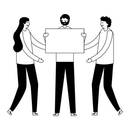 people holding banner on white background vector illustration