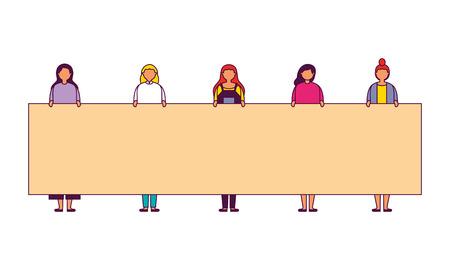 women holding banner on white background vector illustration