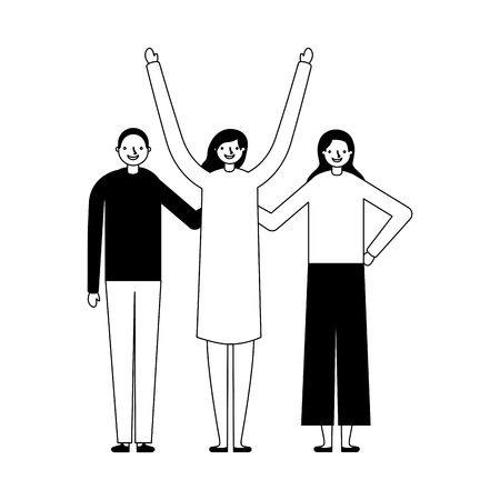 women and man together on white background vector illustration