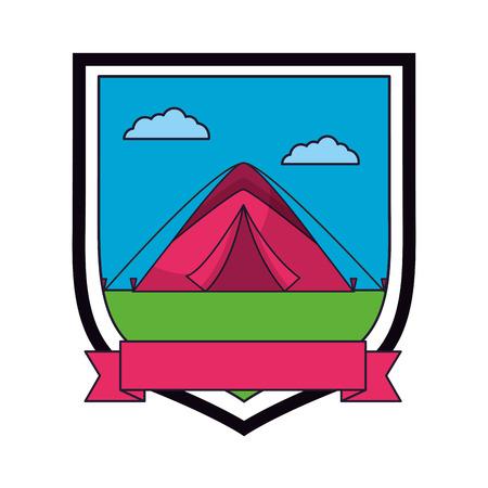tent camping sky emblem ribbon vector illustration