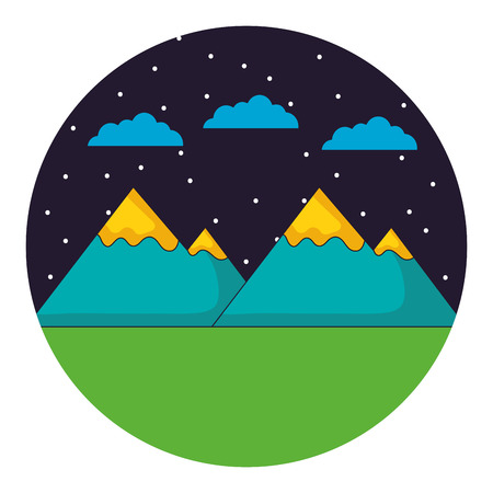 mountains night sky clouds landscape vector illustration