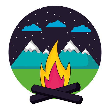 bonfire mountains night star camping landscape vector illustration