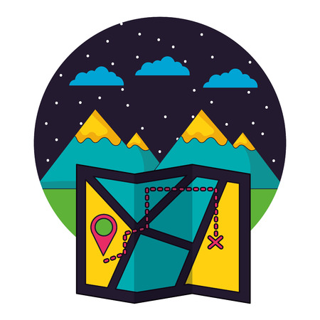 map destination mountains camping landscape vector illustration 스톡 콘텐츠 - 127353647