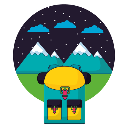backpack and mountains camping landscape vector illustration