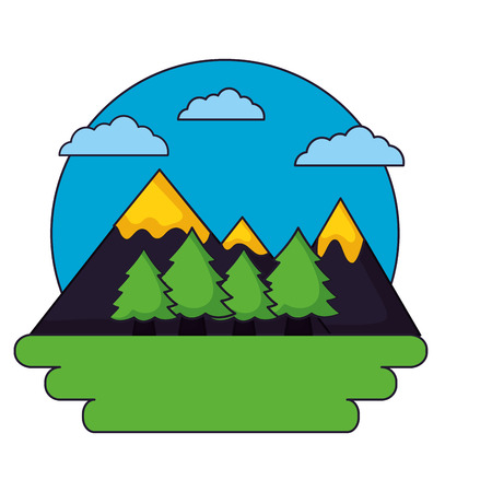 mountains tree forest sky landscape vector illustration Banco de Imagens - 112719021