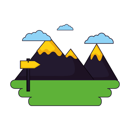 mountains guide signal camping landscape vector illustration Foto de archivo - 127353653