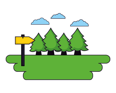 forest tree guide signal camping landscape vector illustration Illustration