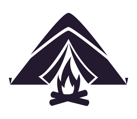 tent bonfire camping summer silhouette vector illustration