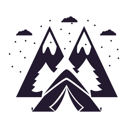 tent forest and mountains peak camping summer vector illustration