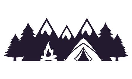 tent bonfire mountains camping landscape vector illustration