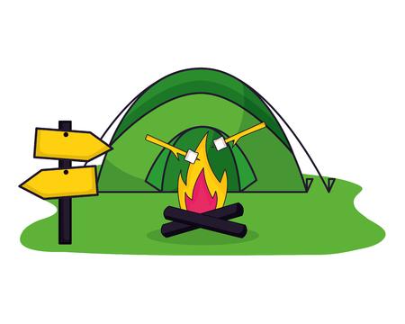 tent bonfire guide signal camping summer vector illustration Stockfoto - 127353659