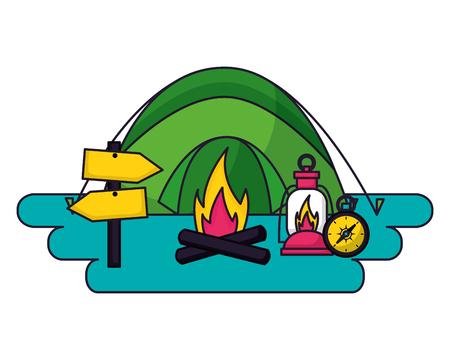 tent bonfire lantern compass camping summer vector illustration