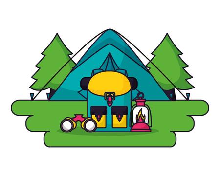 tent backpack lantern binoculars forest camping landscape vector illustration